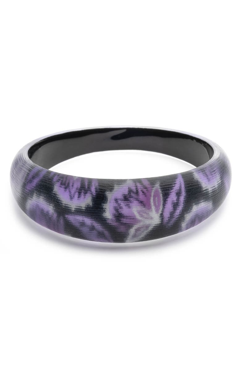 ALEXIS BITTAR Floral Noir Medium Tapered Bangle, Main, color, 500