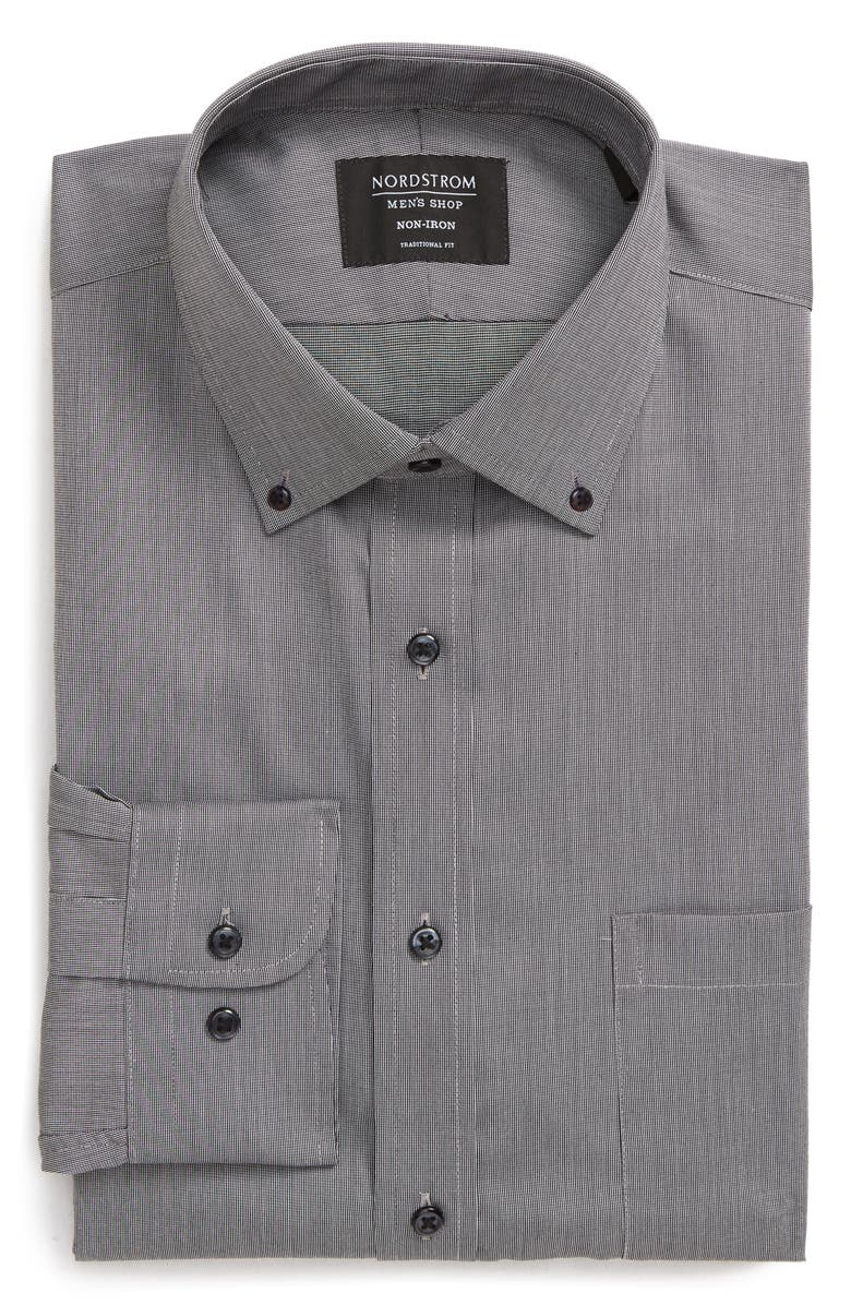NORDSTROM MEN'S SHOP Traditional Fit Non-Iron Solid Dress Shirt, Main, color, GREY CASTLEROCK
