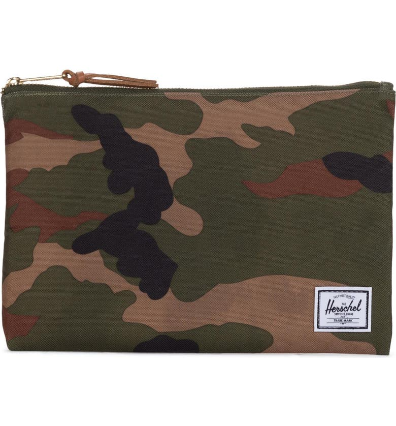 HERSCHEL SUPPLY CO. Large Network Pouch, Main, color, WOODLAND CAMO
