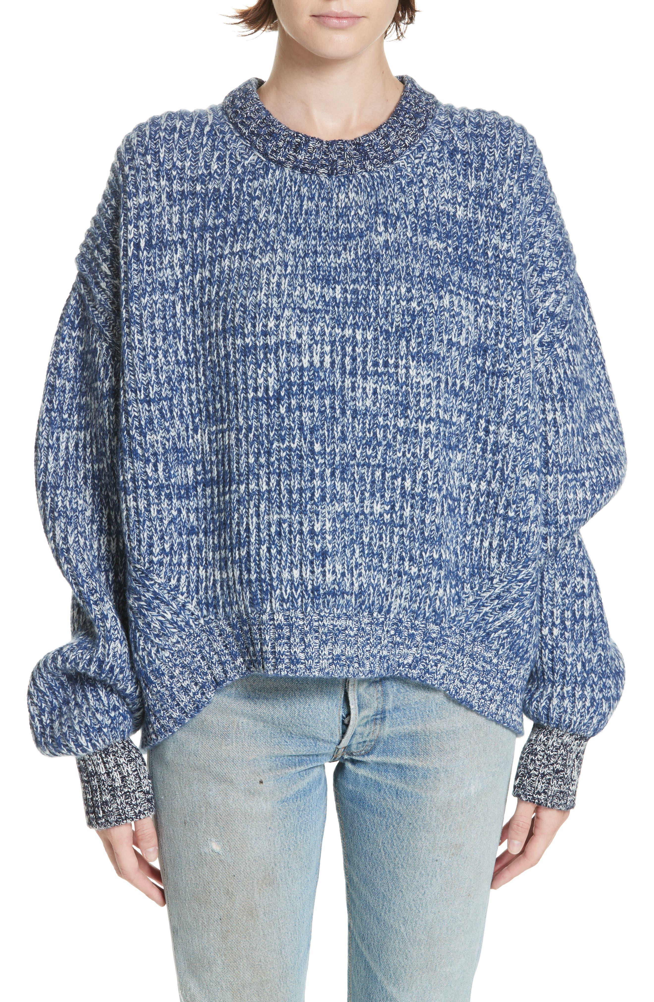 Mavie Chunky Wool & Cashmere Sweater, Main, color, BLUE MARL