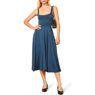 Reformation Rou Midi Fit & Flare Dress, Blue