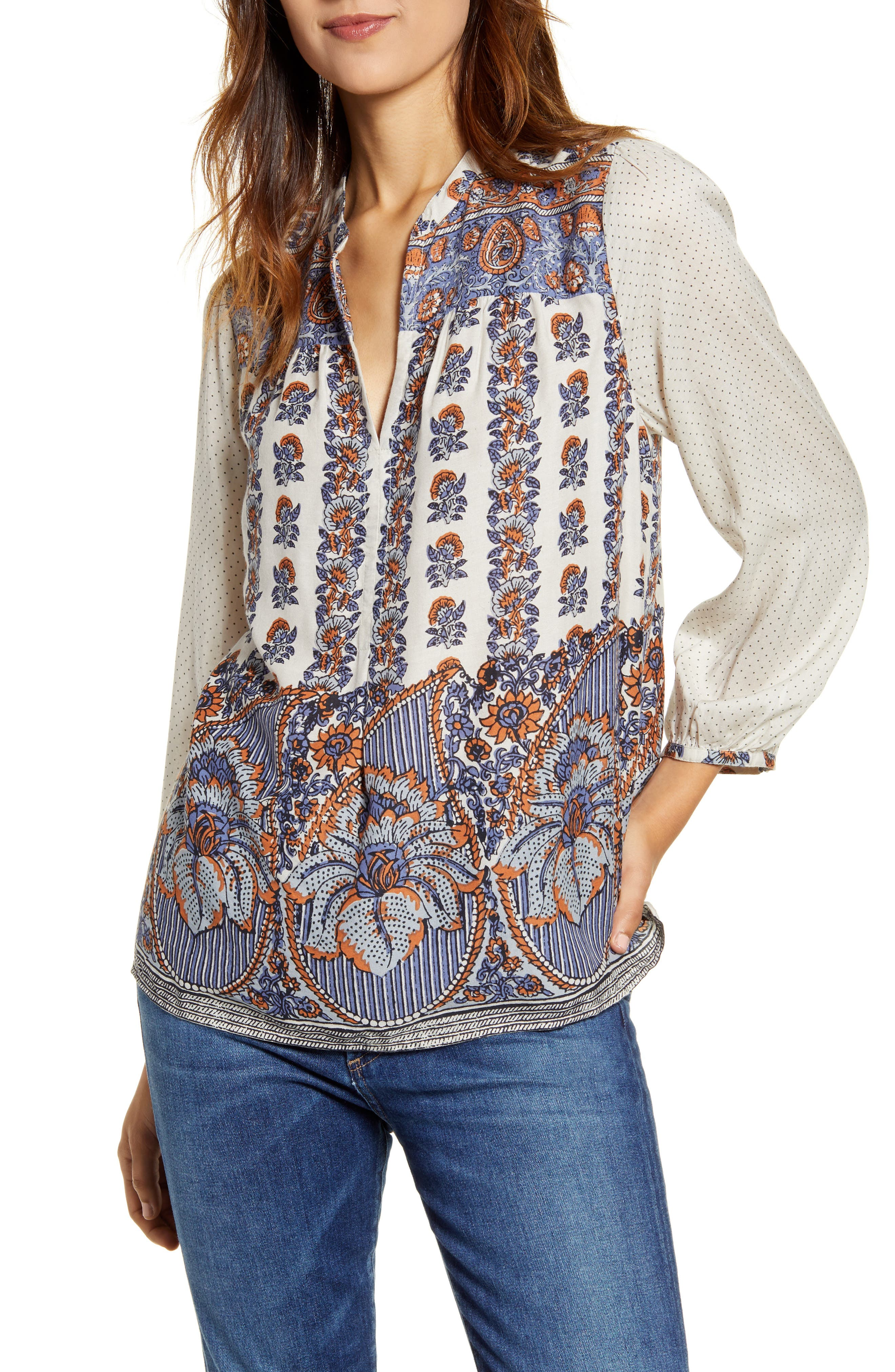 Women's 70s Shirts, Blouses, Hippie Tops Womens Lucky Brand Rami Peasant Top $99.00 AT vintagedancer.com