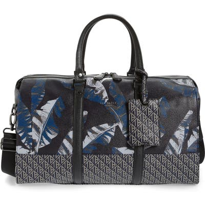 Ted Baker London Gelada Print Faux Leather Duffle Bag - Blue