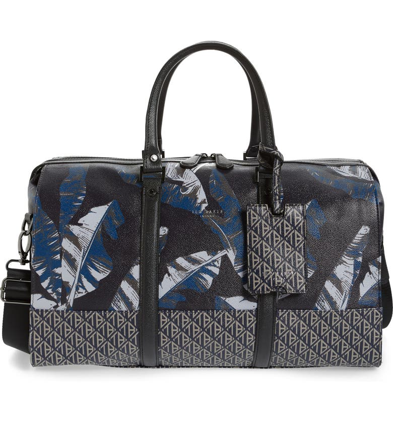 TED BAKER LONDON Gelada Print Faux Leather Duffle Bag, Main, color, NAVY