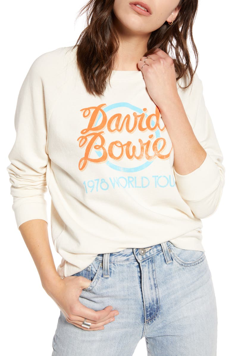 TREASURE & BOND Band Graphic Sweatshirt, Main, color, ANTIQUE WHITE DAVID BOWIE