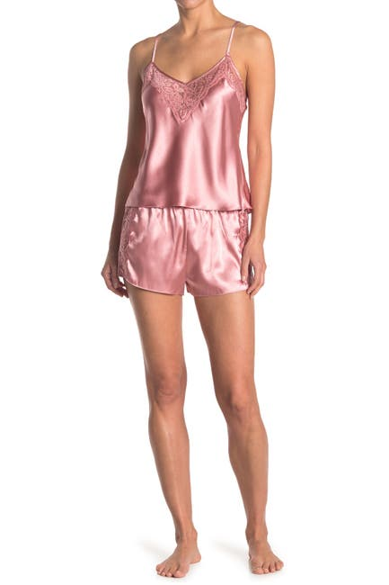 Image of In Bloom by Jonquil Lace Trim Satin Camisole & Shorts 2-Piece Pajama Set