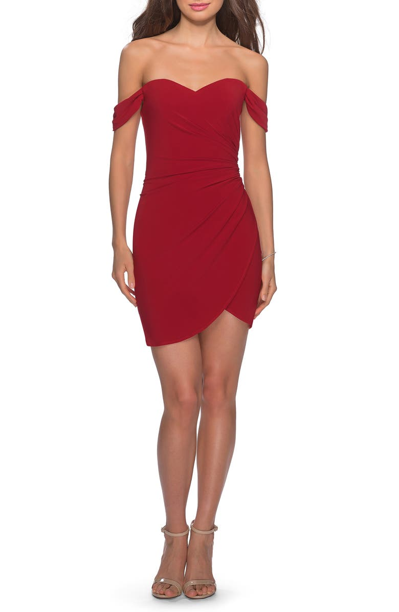 LA FEMME Off the Shoulder Ruched Soft Jersey Party Dress, Main, color, RED