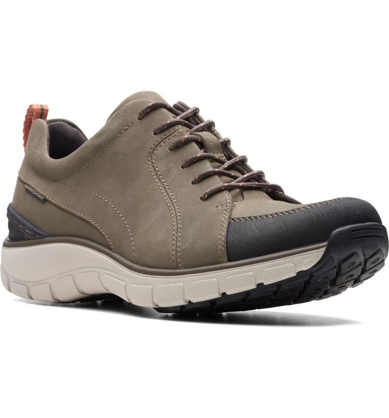 CLARKS<SUP>®</SUP> Wave Go Waterproof Sneaker, Main, color, TAUPE NUBUCK/ LEATHER COMBI