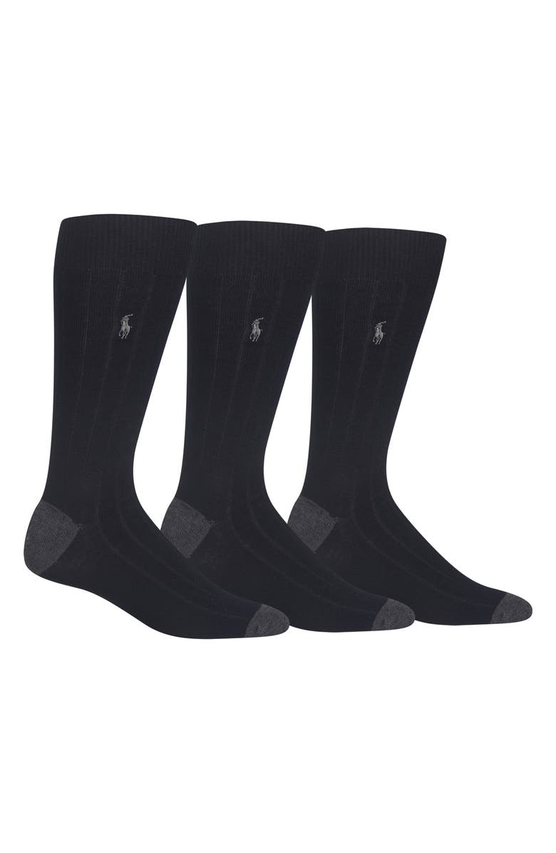POLO RALPH LAUREN 3-Pack Ribbed Socks, Main, color, 001