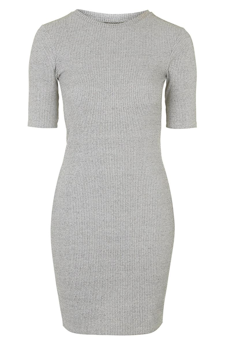 TOPSHOP Half Sleeve Ribbed Body-Con Dress, Main, color, 020