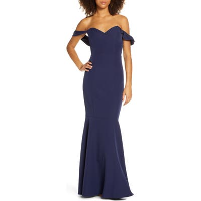 Wayf The Gabrielle Strapless Trumpet Gown, Blue