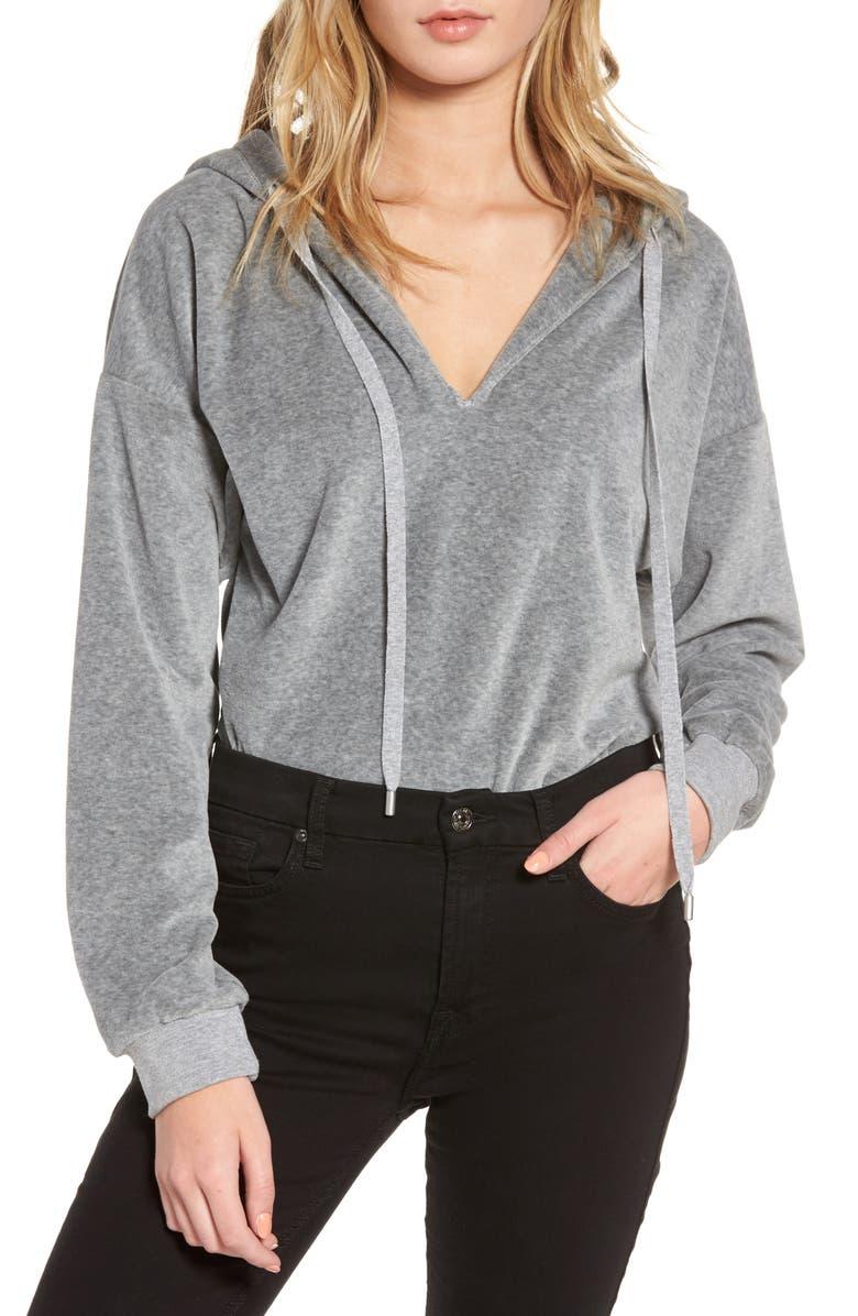 KENDALL + KYLIE Hooded Bodysuit, Main, color, MEDIUM HEATHER GREY