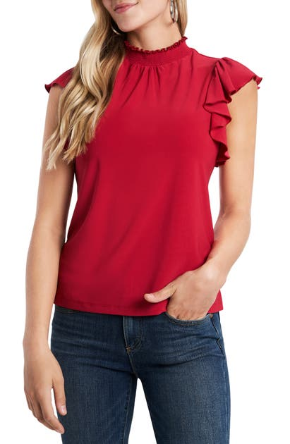 1.state RUFFLE SLEEVE KNIT TOP