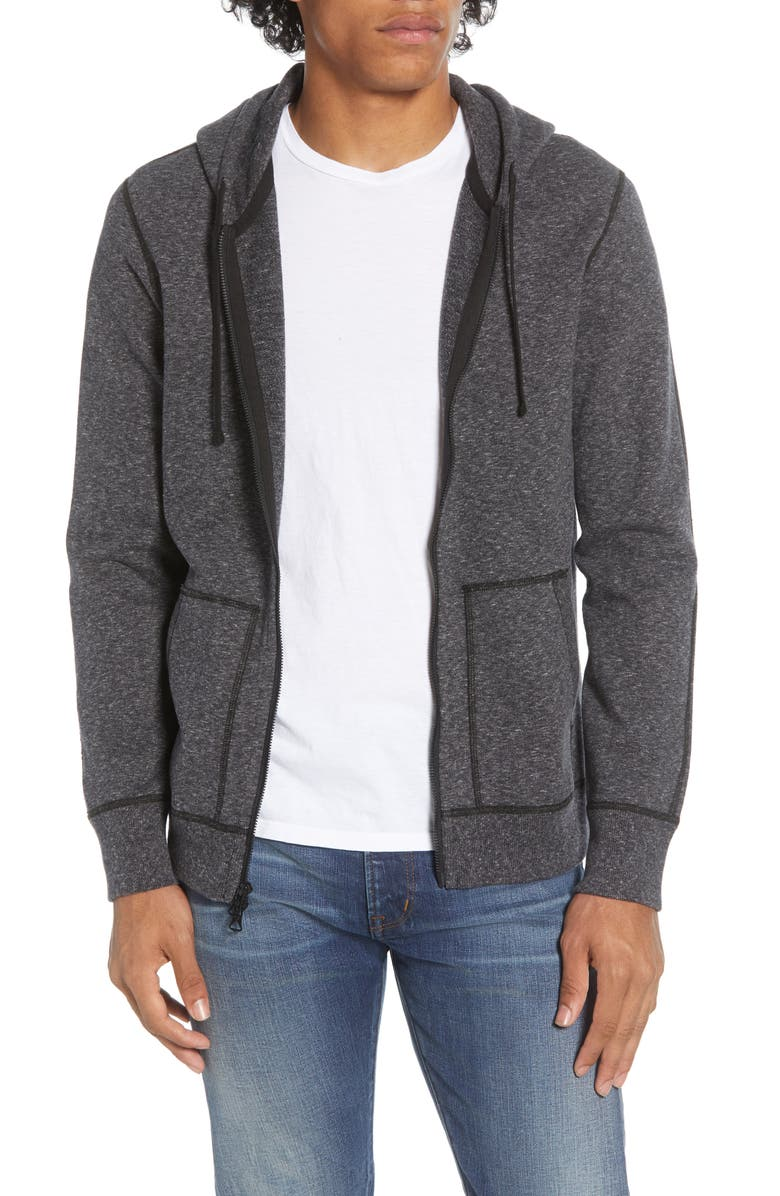 REIGNING CHAMP Core Zip Front Hoodie, Main, color, HEATHER BLACK