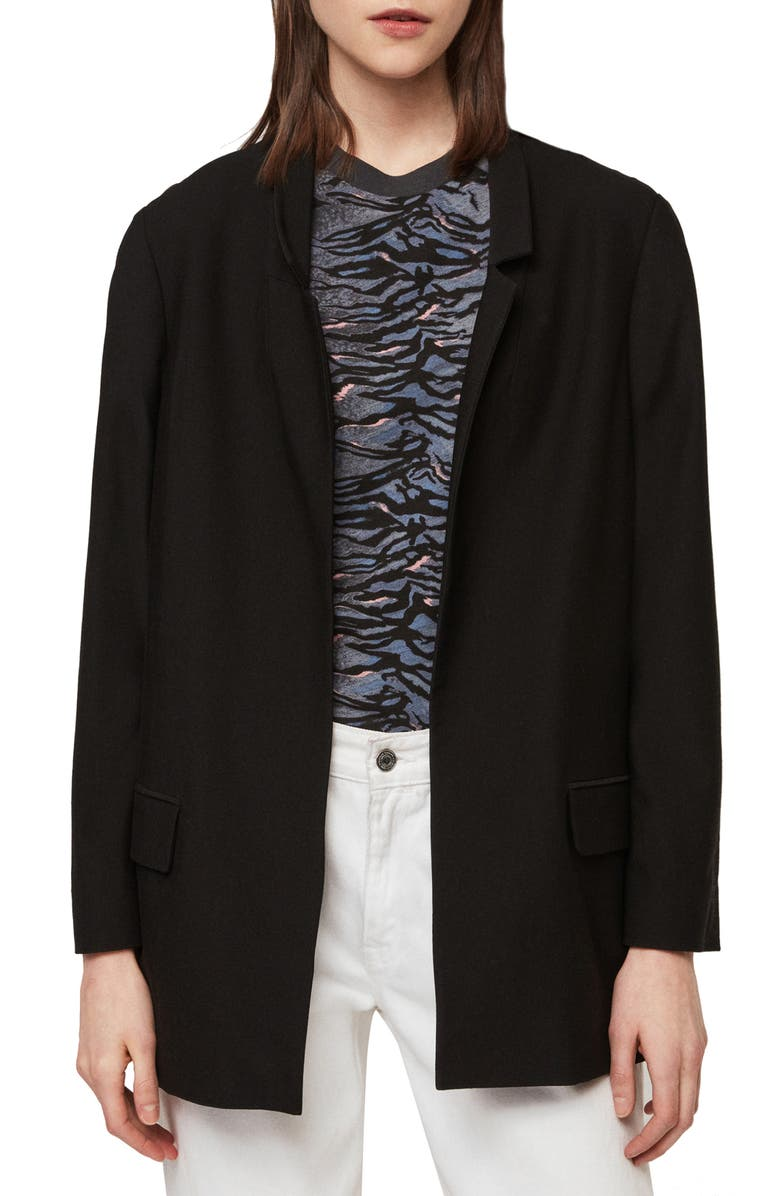 ALLSAINTS Aida Stretch Jersey Blazer, Main, color, BLACK