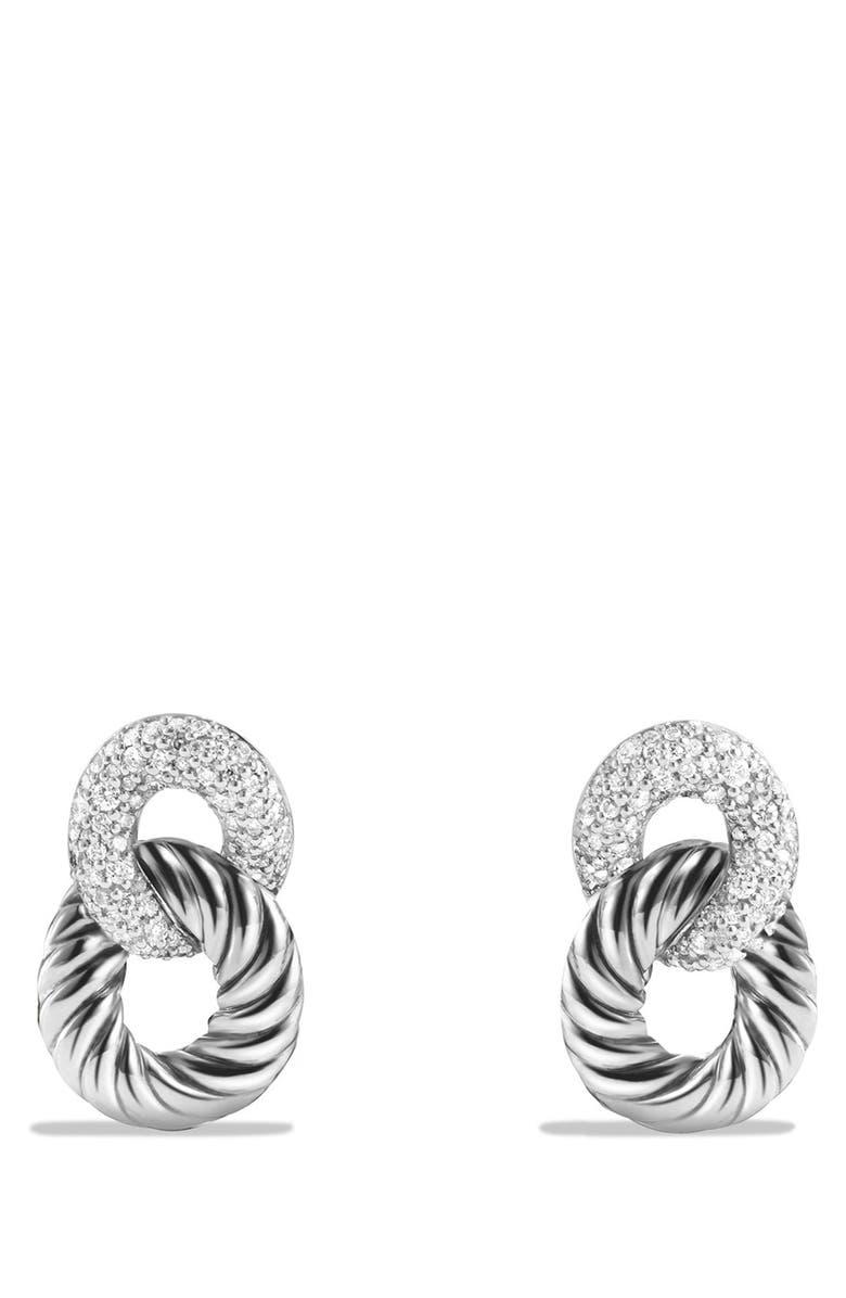 DAVID YURMAN 'Belmont Curb Link' Drop Earrings with Diamonds, Main, color, DIAMOND