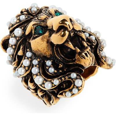 Gucci Lion Head Imitation Pearl & Crystal Ring