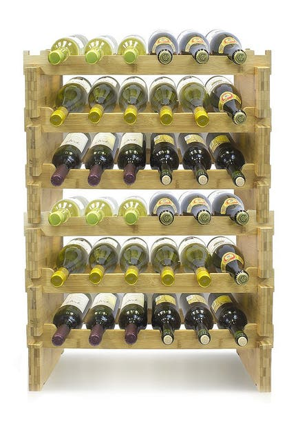 Image of Sorbus 6-Tier Stackable Bamboo Wine Rack