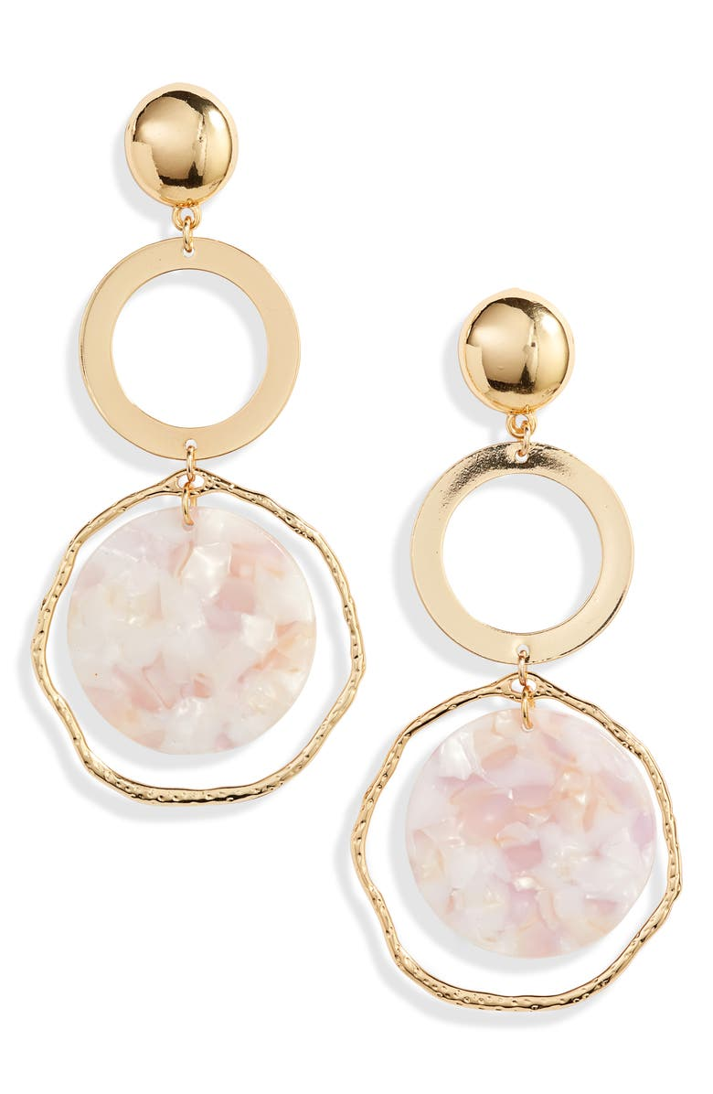 ETTIKA Disc Drop Earrings, Main, color, BLUSH/ GOLD