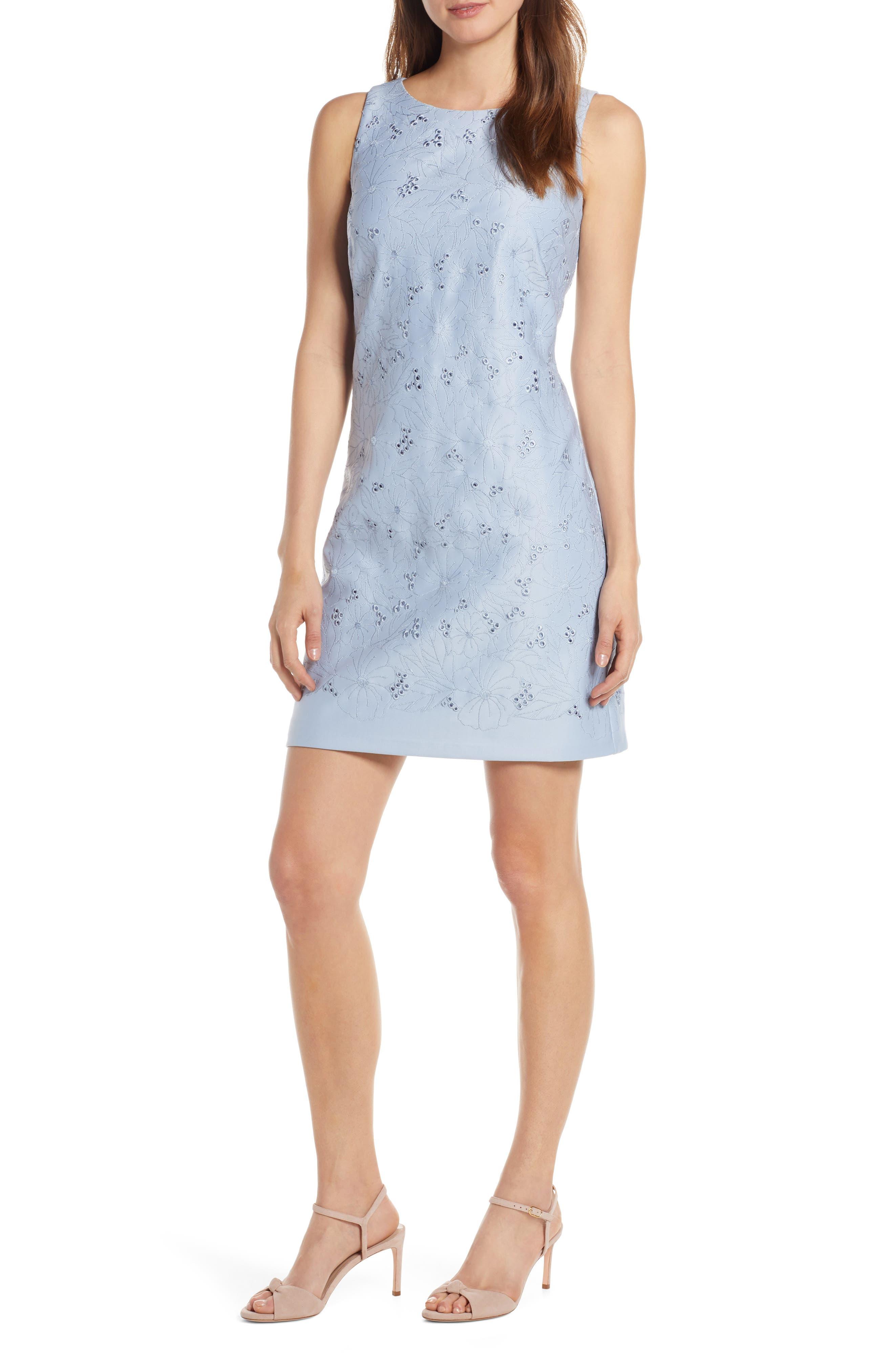 Eliza J Eyelet Embroidered Shift Dress, Blue