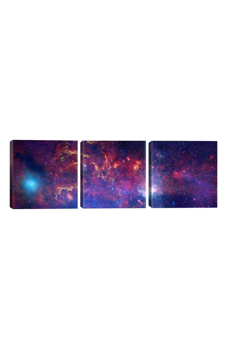 ICANVAS Center of the Milky Way Galaxy 3-Piece Print Canvas Art, Main, color, BLUE