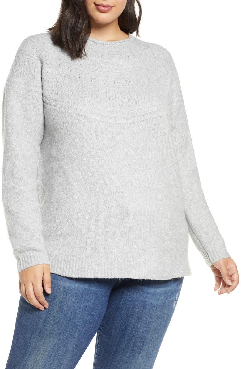 CASLON<SUP>®</SUP> Stitch Detail Pullover Sweater, Main, color, GREY HEATHER