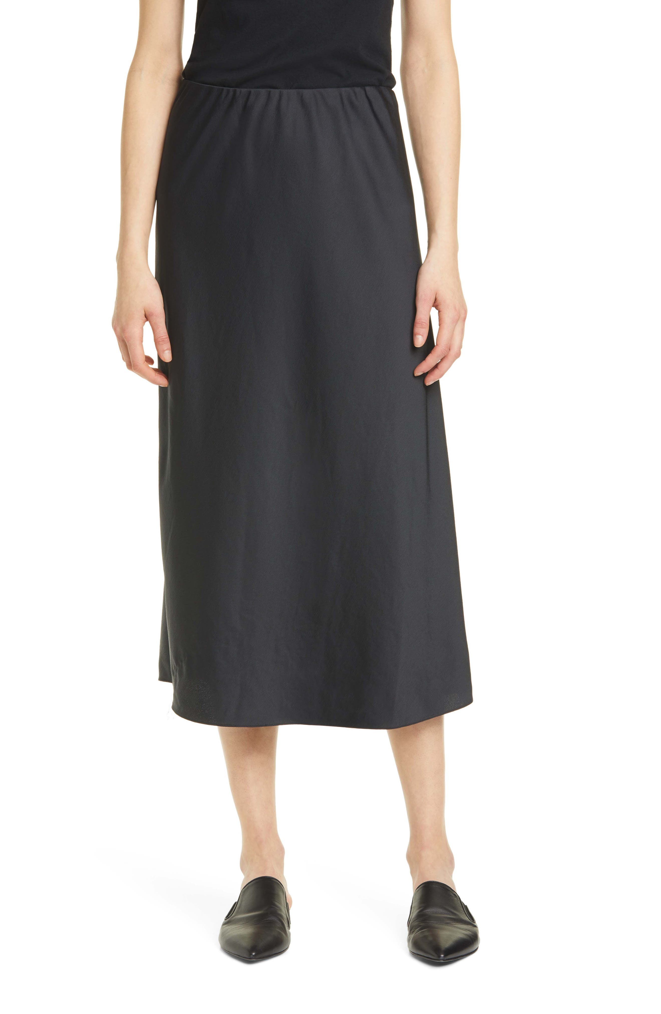 Grosgrain Waist Stretch Satin Slip Skirt