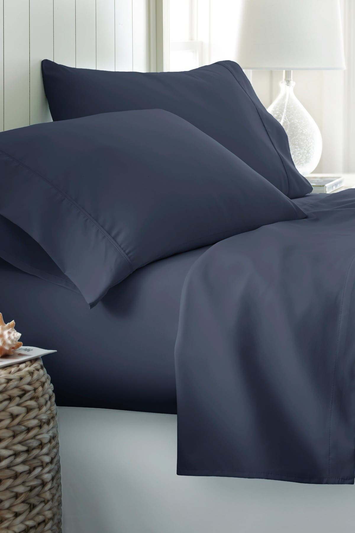 Image of IENJOY HOME King Hotel Collection Premium Ultra Soft 4-Piece Bed Sheet Set - Navy