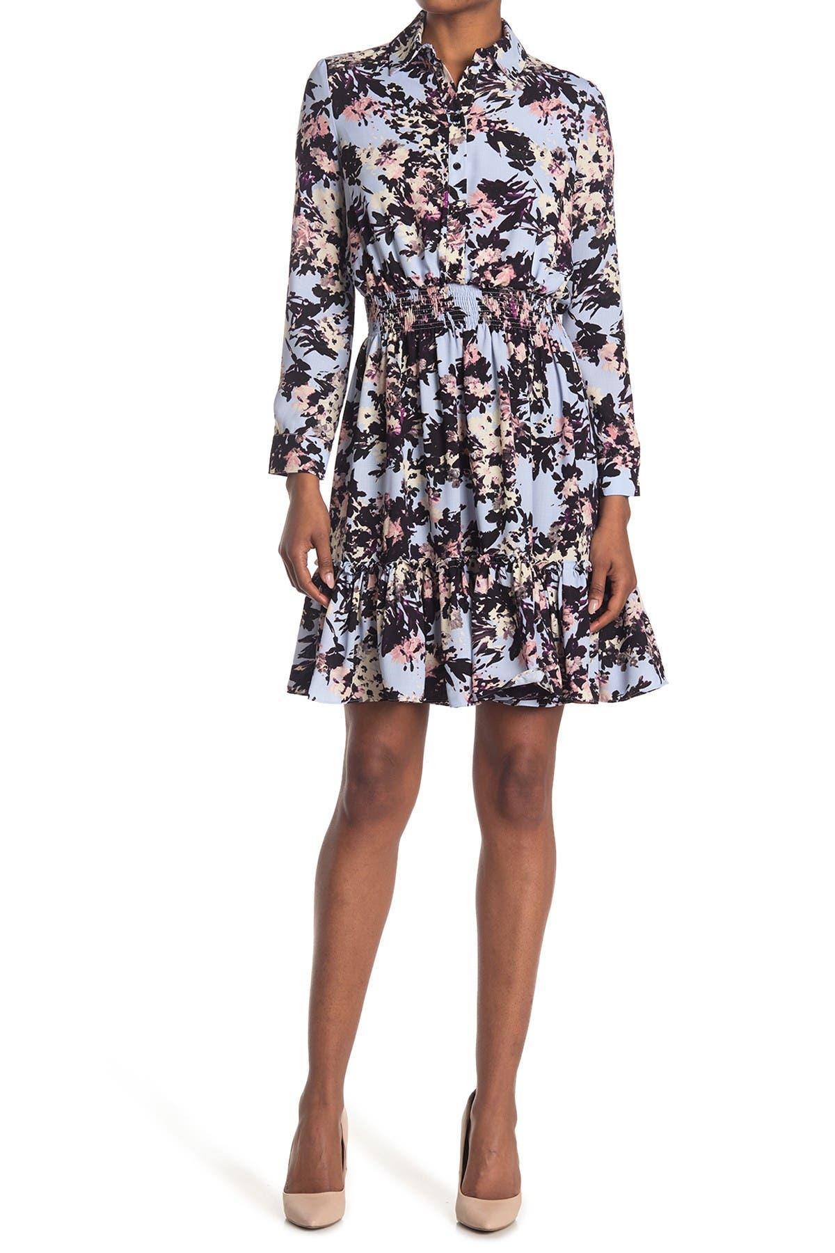 Image of Taylor Floral Print Crepe Shirt Dress