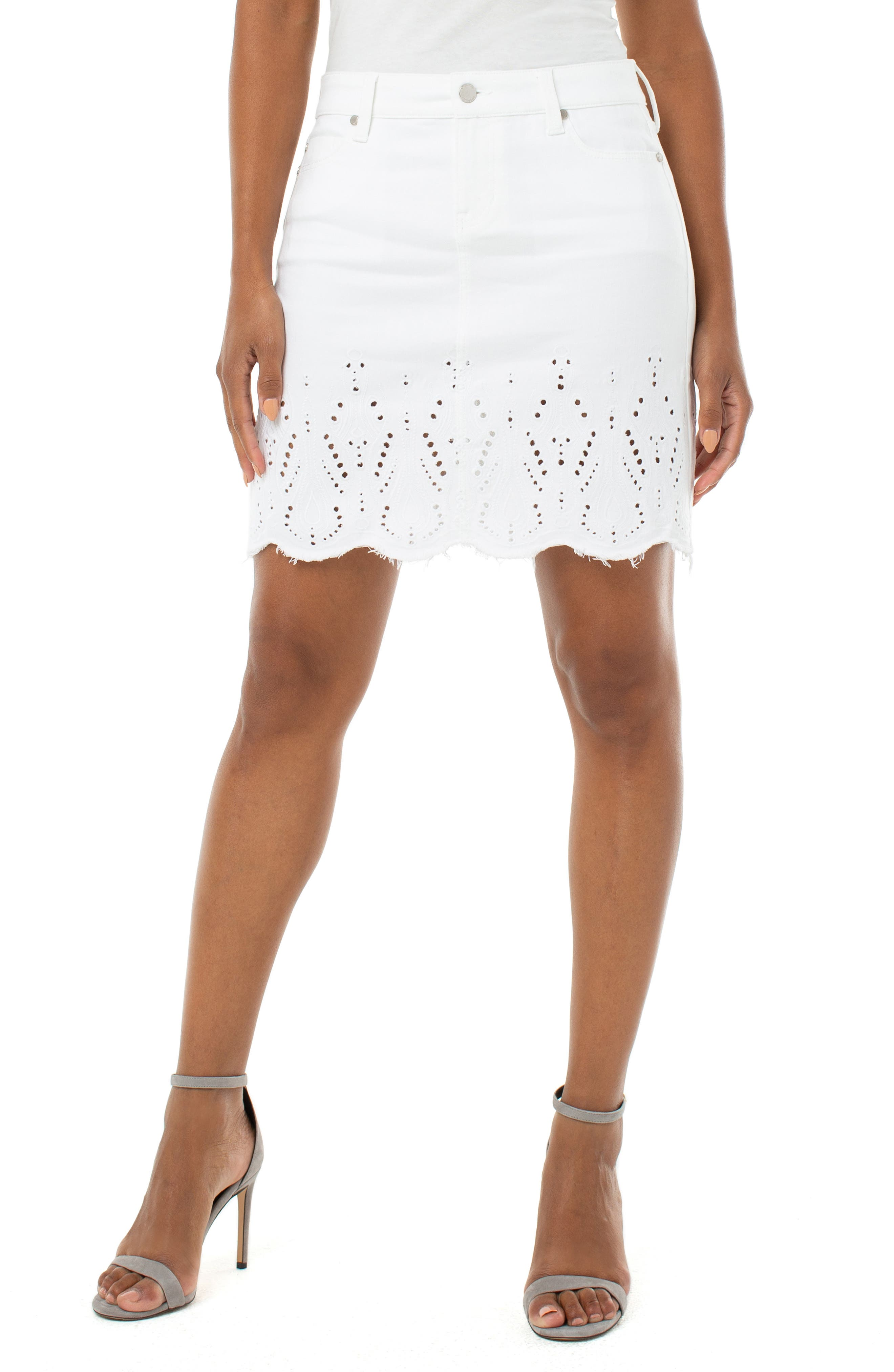 Embroidered Hem Denim Miniskirt