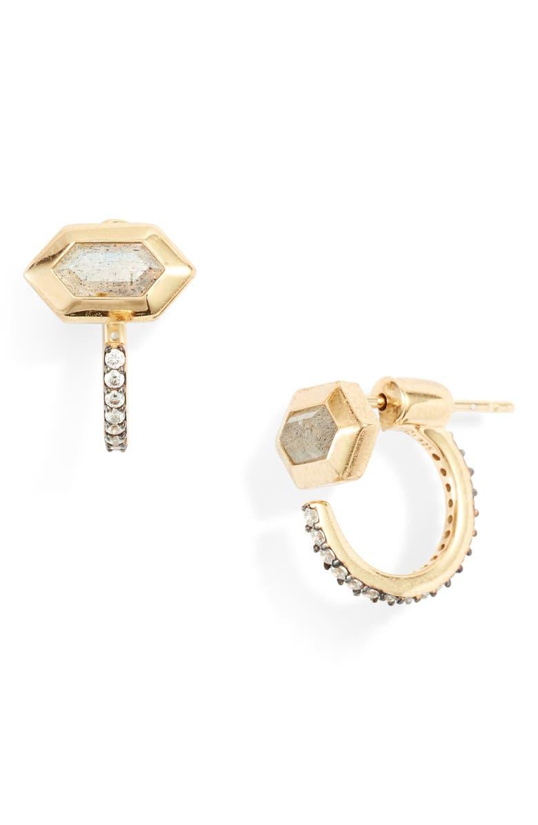 NADRI Venice Labradorite Drop-Back Earrings, Main, color, GOLD
