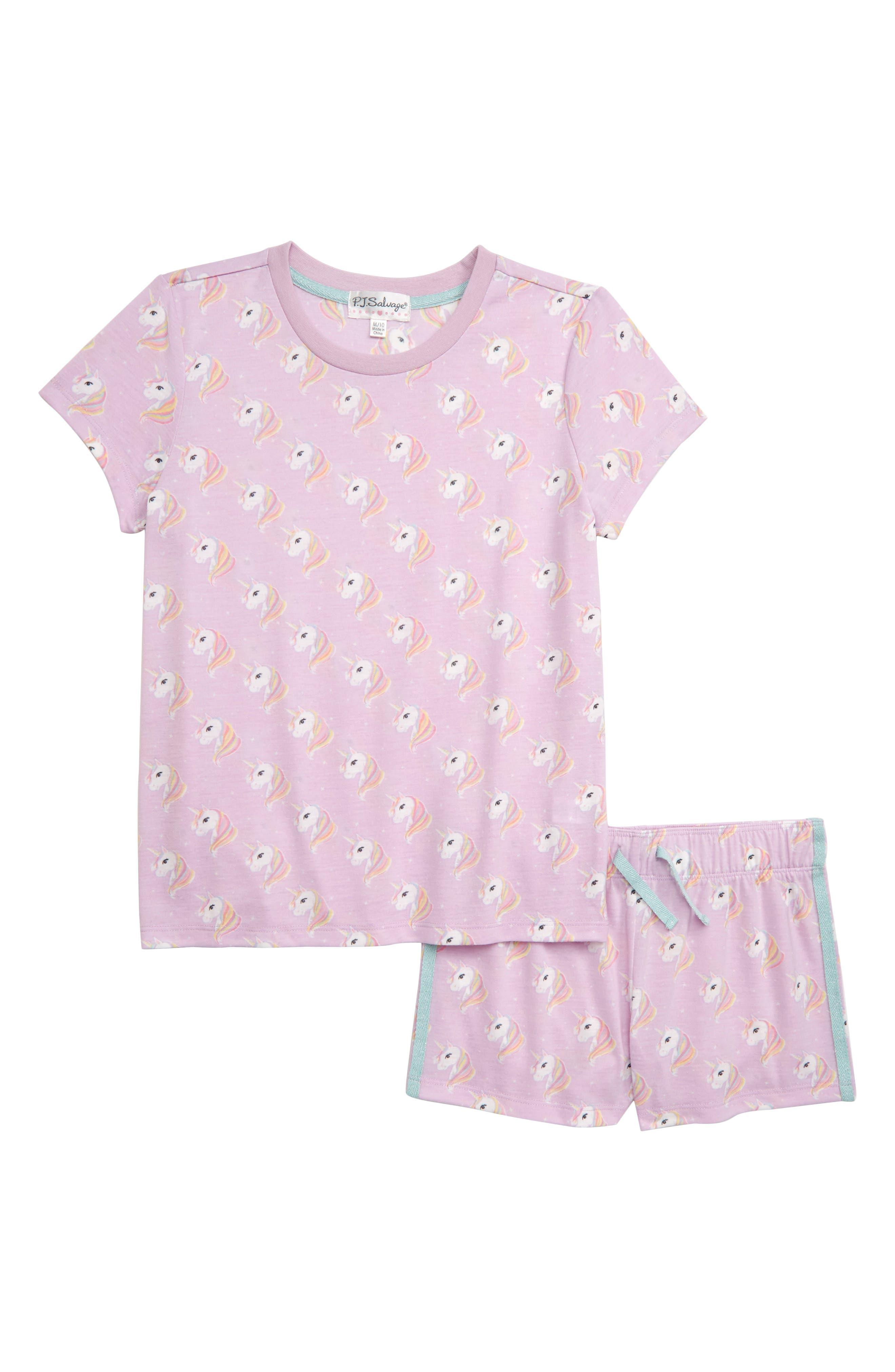 Girls Pj Salvage Unicorn TwoPiece Short Pajamas Size XS (56)  Purple