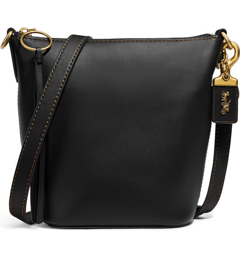 COACH Archival 20 Duffle Leather Shoulder Bag, Main, color, B4/ BLACK
