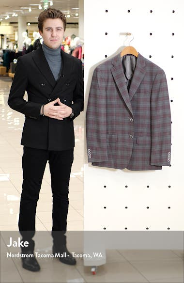 Classic Fit Plaid Stretch Wool Sport Coat, sales video thumbnail