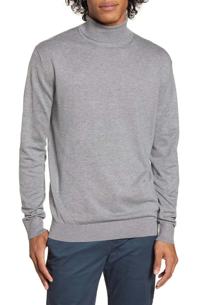 SCOTCH & SODA Mélange Slim Fit Turtleneck Sweater, Main, color, GREY MELANGE