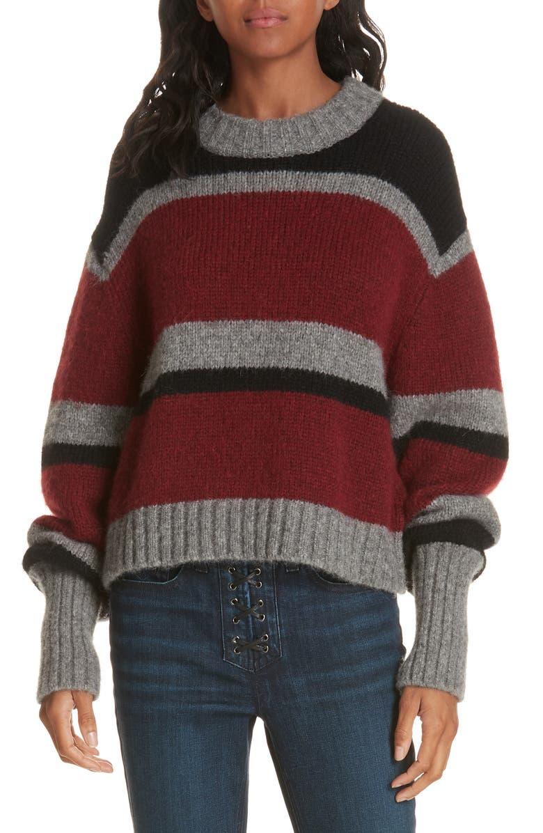VERONICA BEARD Magda Stripe Alpaca & Merino Wool Blend Sweater, Main, color, GREY/ RUST