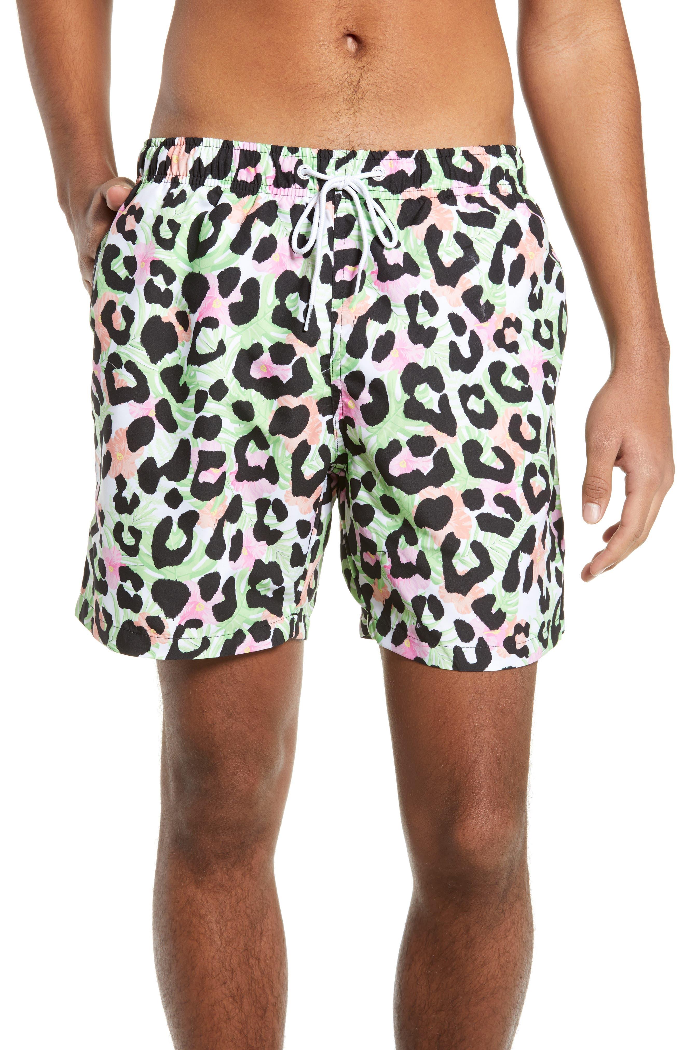 Boardies Cheetah Print Swim Trunks, Green