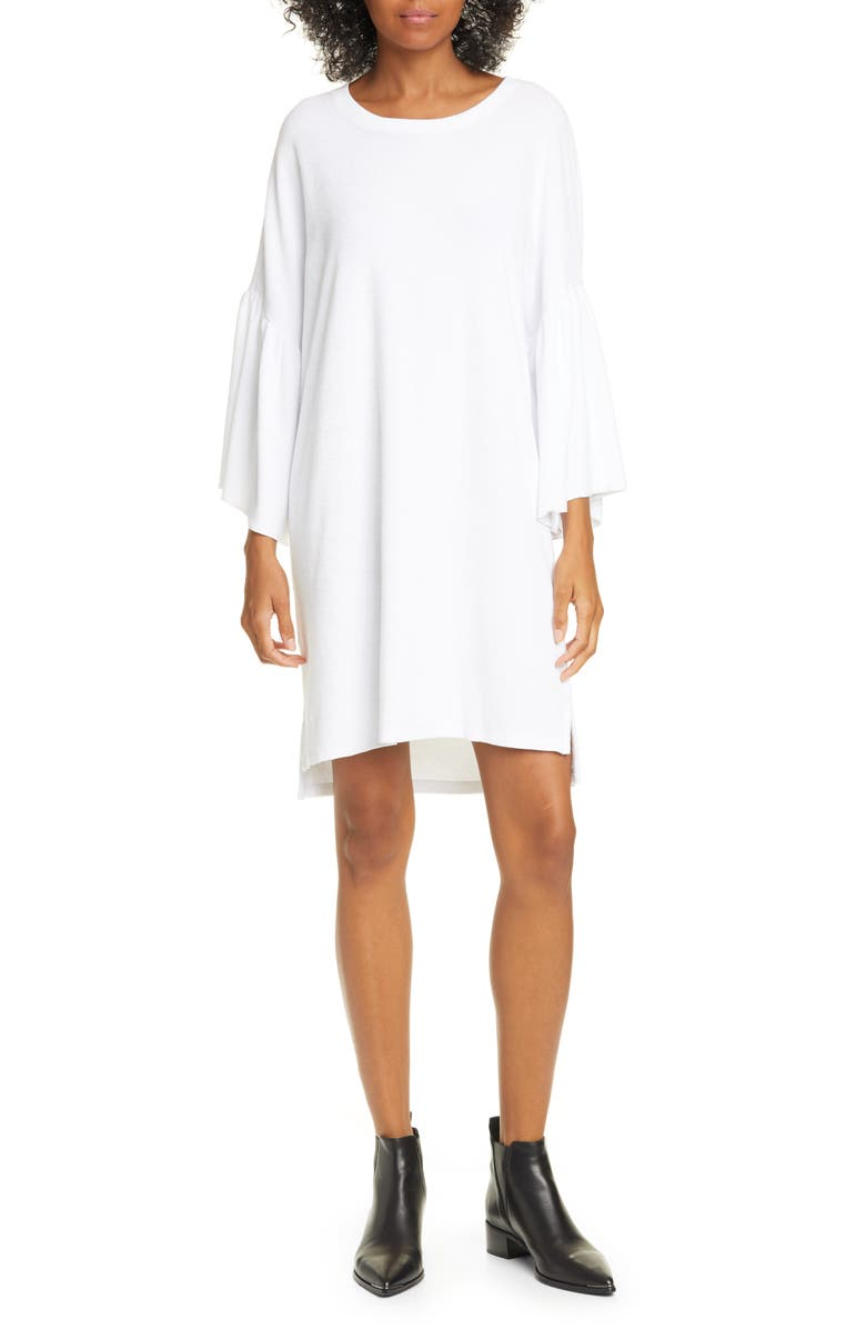 ATM ANTHONY THOMAS MELILLO Ruffle Sleeve High/Low Cotton T-Shirt Dress, Main, color, WHITE