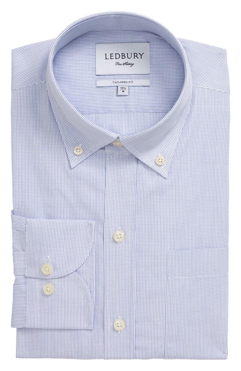 LEDBURY Fairlake Trim Fit Check Dress Shirt, Main, color, NAVY