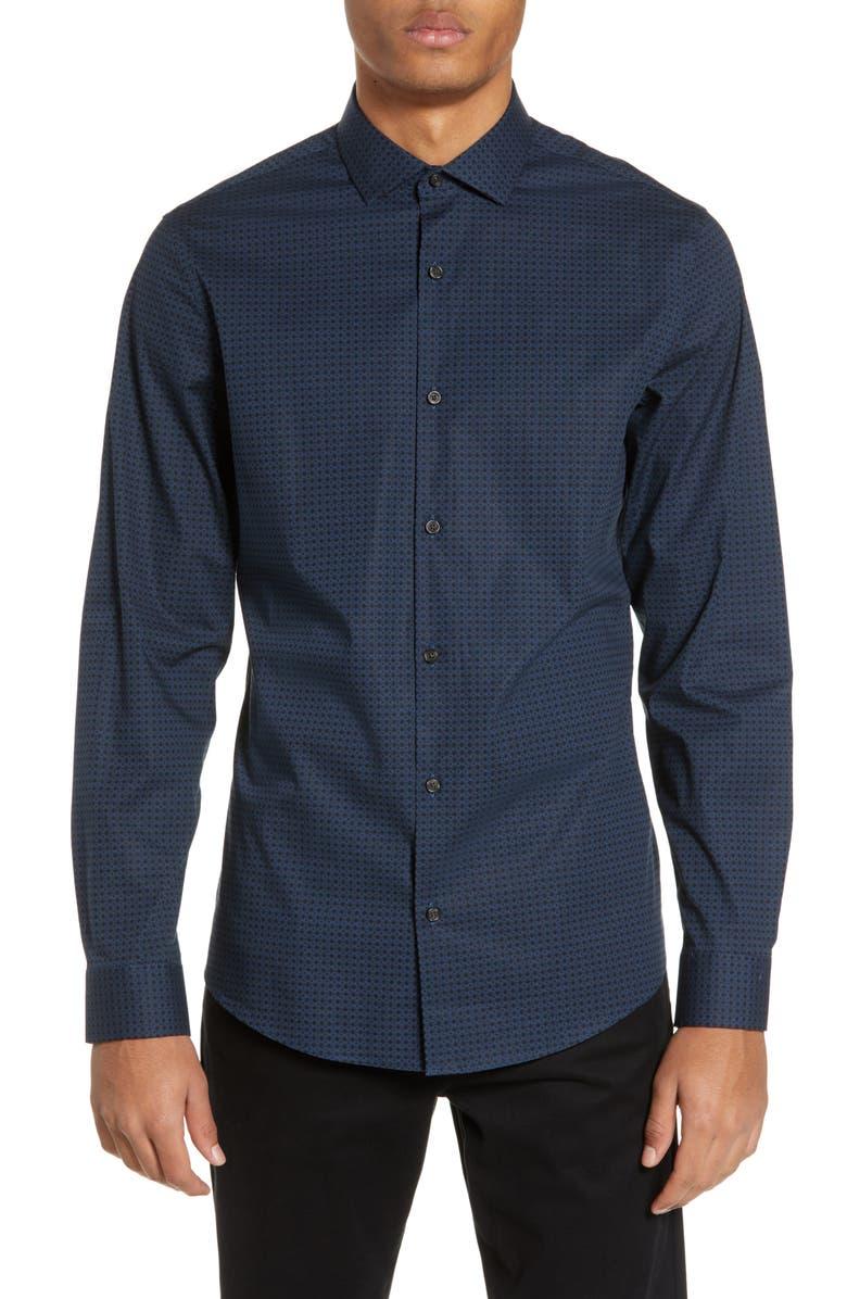 CALIBRATE Print Sport Shirt, Main, color, BLUE OASIS BLACK GEO PRINT