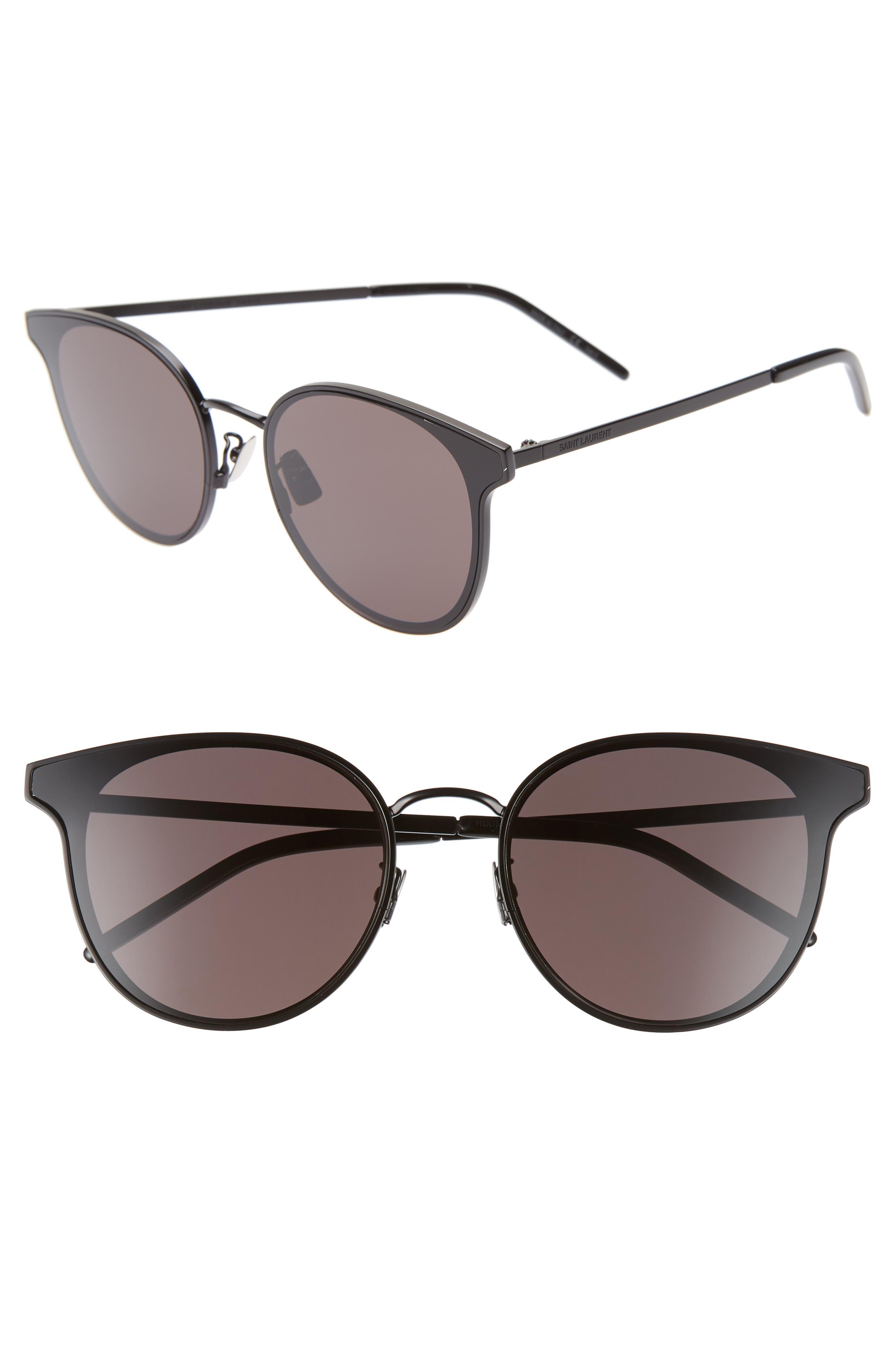 64mm Oversize Flat Front Round Sunglasses, Main, color, BLACK/ BLACK
