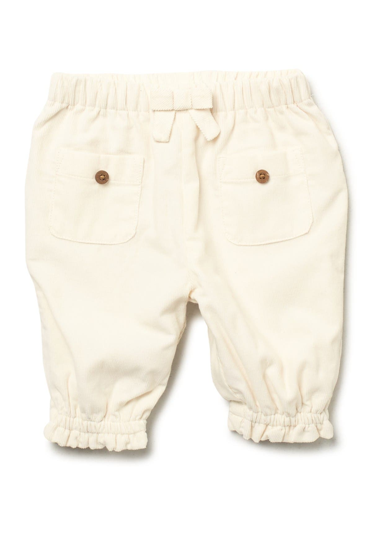 Oliver and Rain Ivory Babycord Pants With Ruffles
