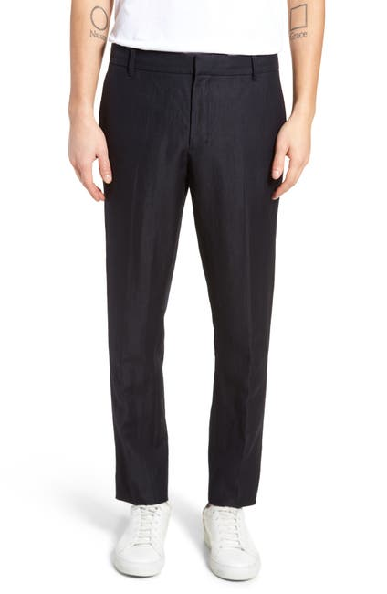 Image of Vince Linen Blend Tapered Leg Trousers