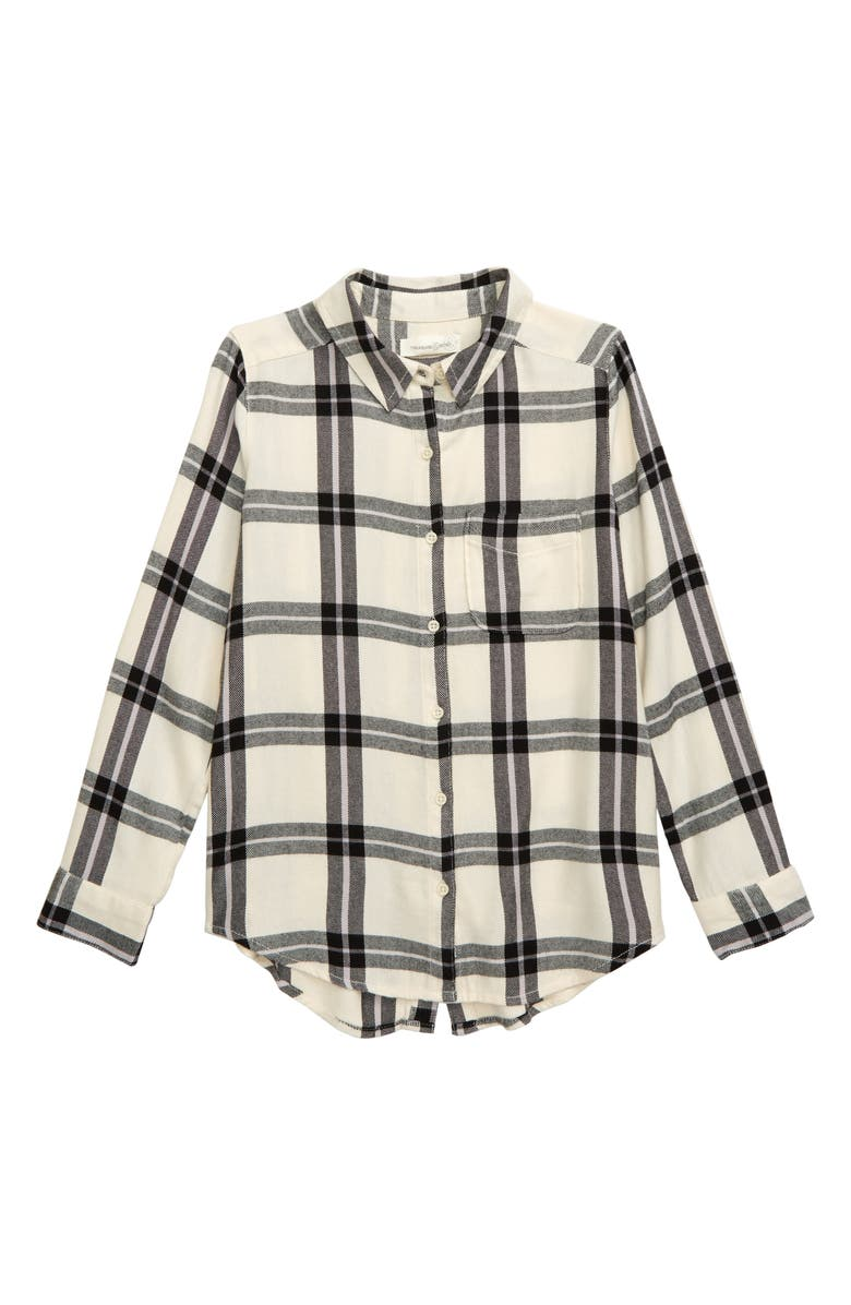 TREASURE & BOND Jaspe Plaid Flannel Shirt, Main, color, 900