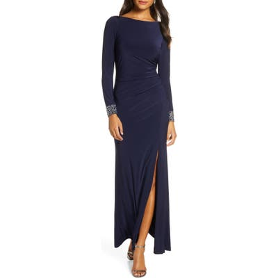 Vince Camuto Beaded Long Sleeve Gown, Blue