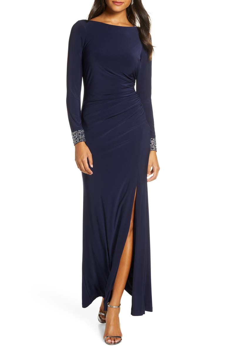 VINCE CAMUTO Beaded Long Sleeve Gown, Main, color, NAVY