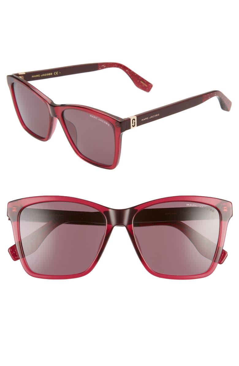 THE MARC JACOBS 56mm Cat Eye Sunglasses, Main, color, CHERRY/ MAUVE