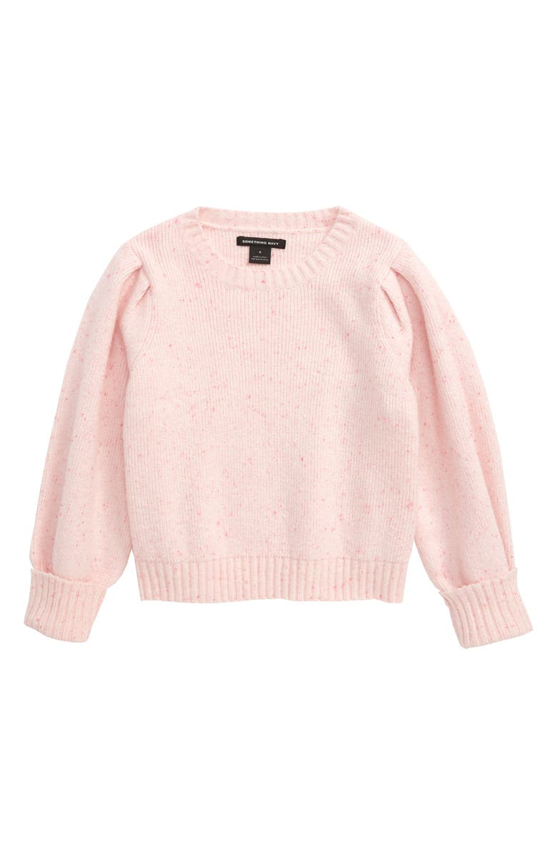 SOMETHING NAVY Puff Sleeve Sweater, Main, color, IVORY EGRET- PINK
