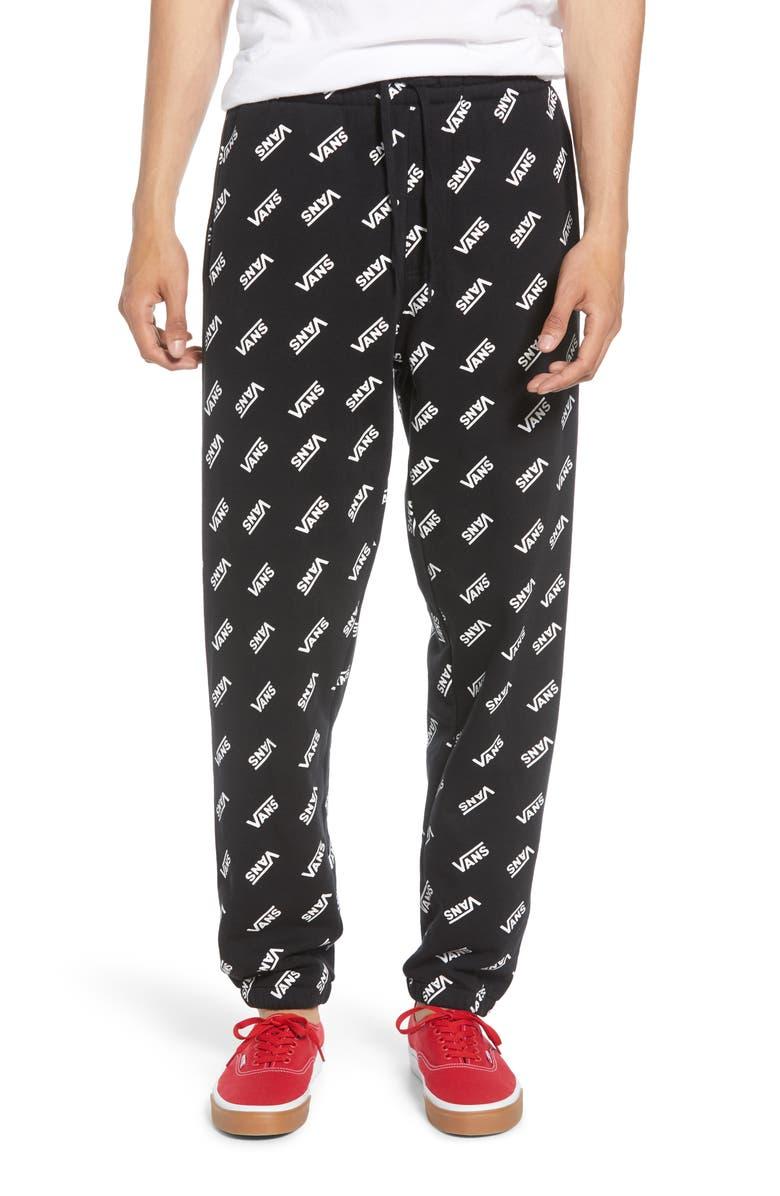 VANS Distorted Fleece Sweatpants, Main, color, BLACK