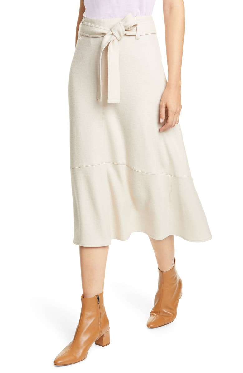 VINCE Wool Blend Midi Skirt, Main, color, OYSTER